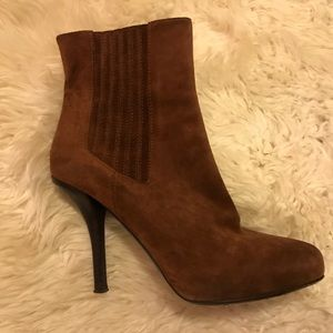 Vince brown suede high heel ankle boots